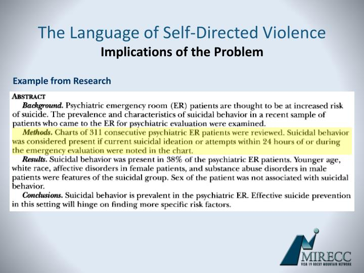 The Language of Self-Directed Violence