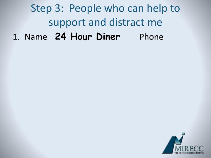 Step 3:  People who can help to support and distract me