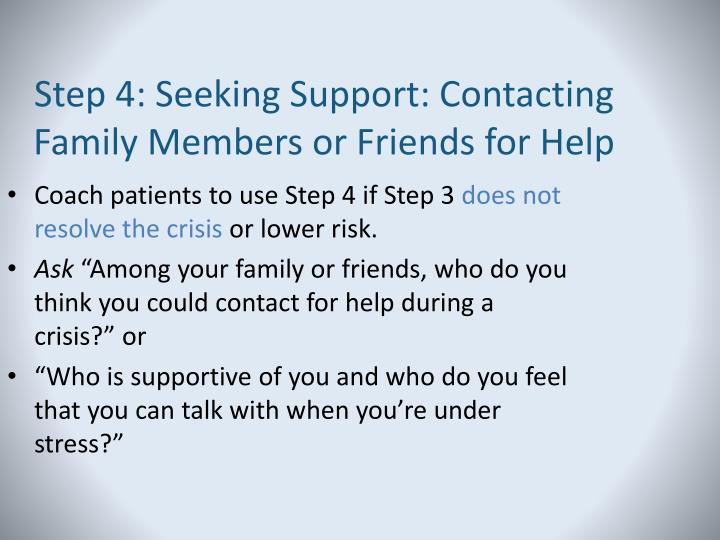 Step 4: Seeking Support: Contacting Family Members or Friends for Help