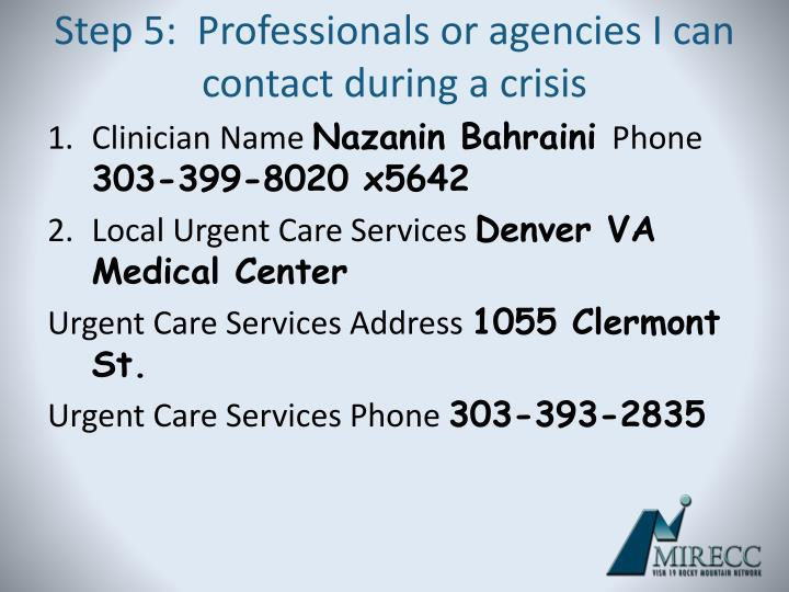 Step 5:  Professionals or agencies I can contact during a crisis