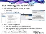 live meeting and audio video