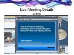 live meeting details clients