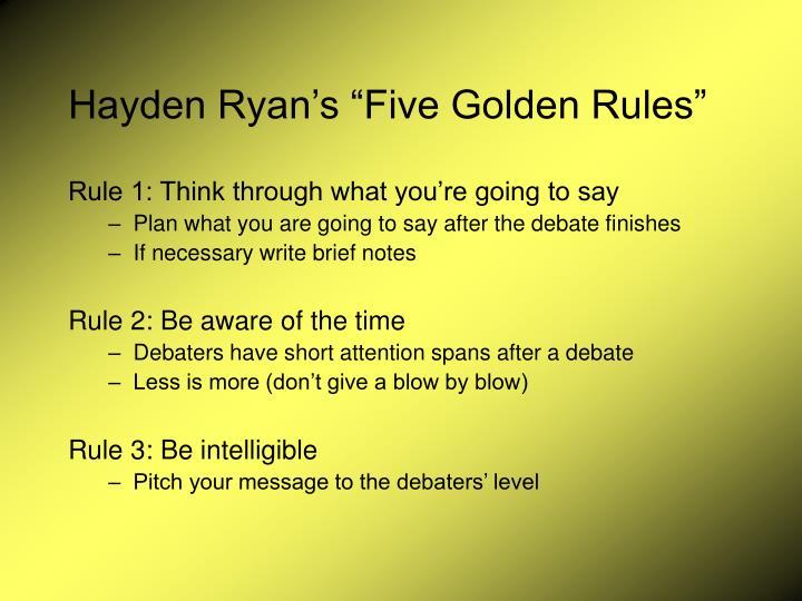 """Hayden Ryan's """"Five Golden Rules"""""""