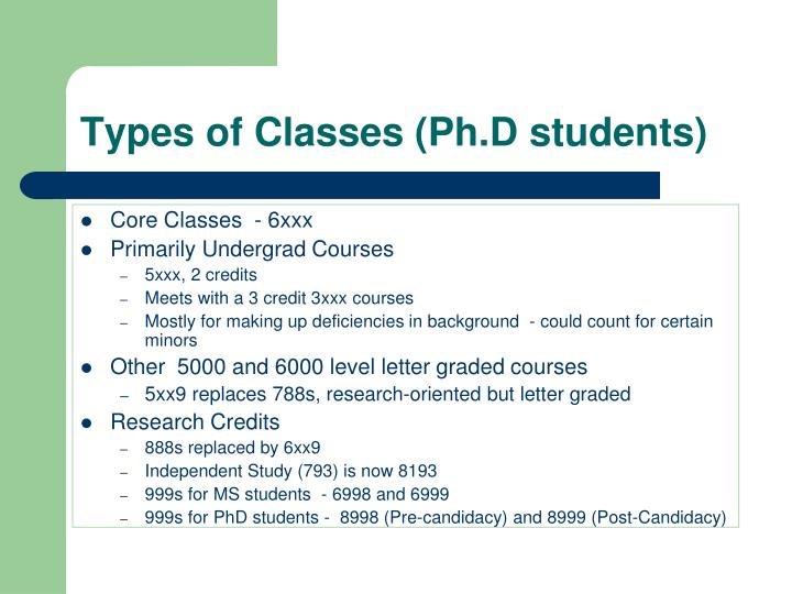 Types of Classes (Ph.D students)