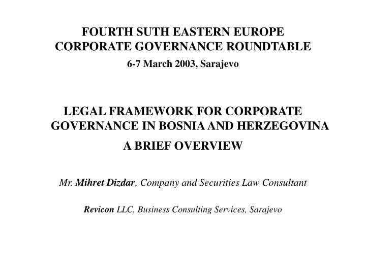 fourth suth eastern europe corporate governance roundtable 6 7 march 2003 sarajevo n.