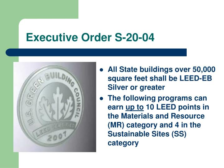 Executive order s 20 04