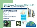 materials and resources mr credit 2 1 record of purchases by cost