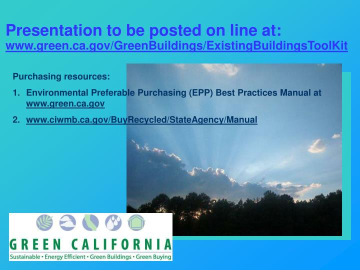Presentation to be posted on line at: