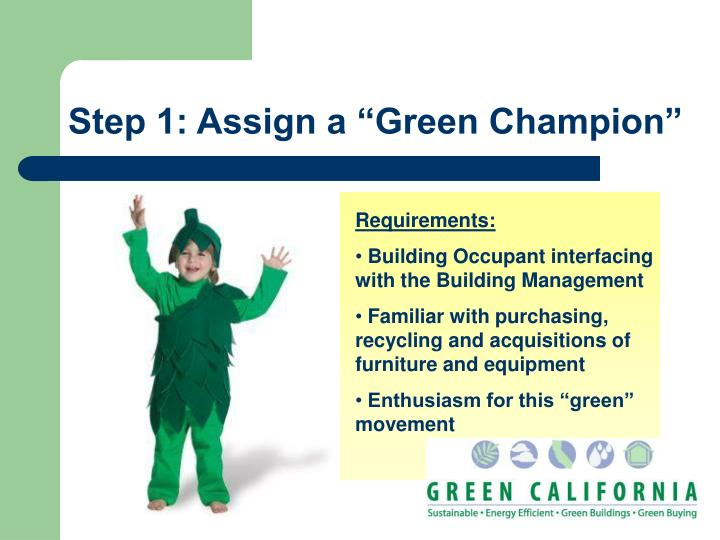"Step 1: Assign a ""Green Champion"""