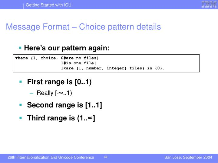 Message Format – Choice pattern details