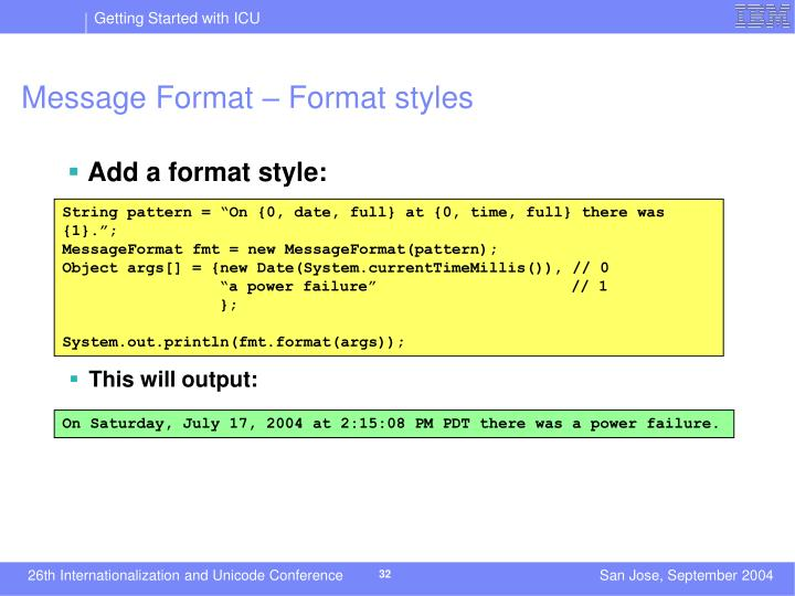 Message Format – Format styles