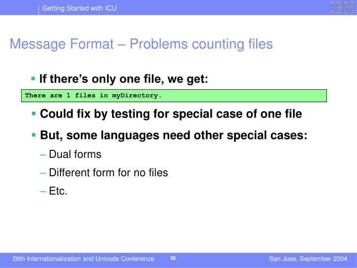 Message Format – Problems counting files
