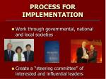 process for implementation