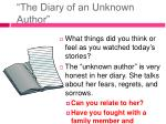 the diary of an unknown author