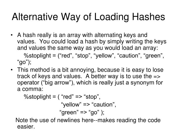 Alternative Way of Loading Hashes