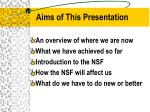 aims of this presentation