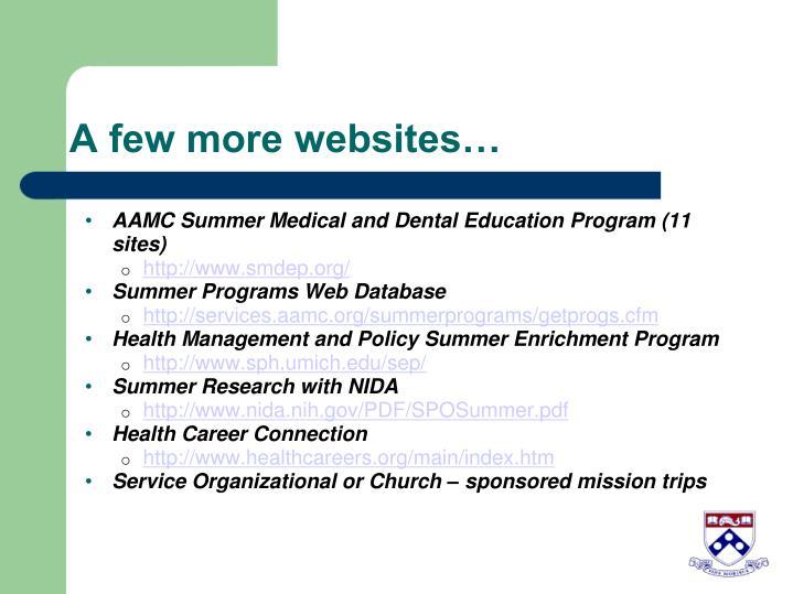 A few more websites…