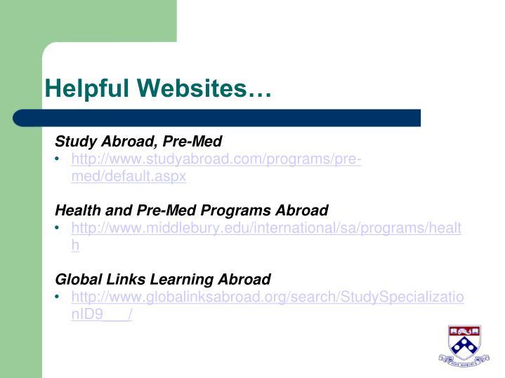 Helpful Websites…