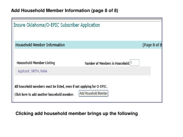 Add Household Member Information (page 8 of 8)