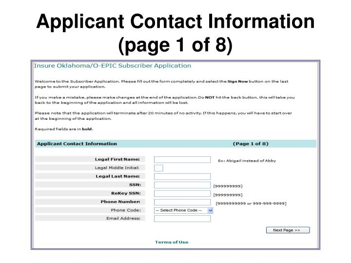 Applicant Contact Information (page 1 of 8)