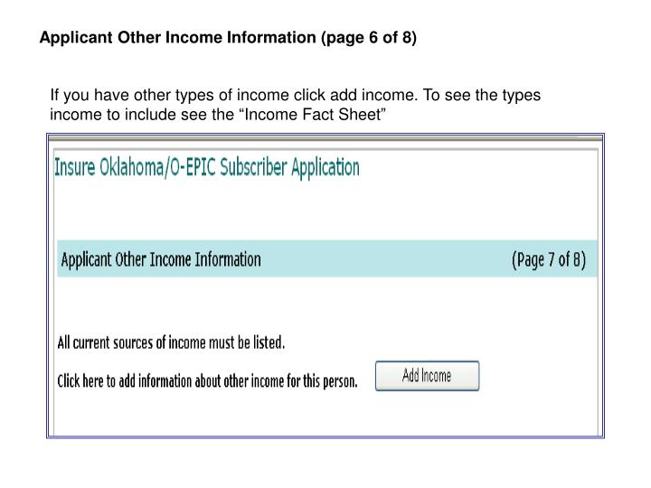 Applicant Other Income Information (page 6 of 8)