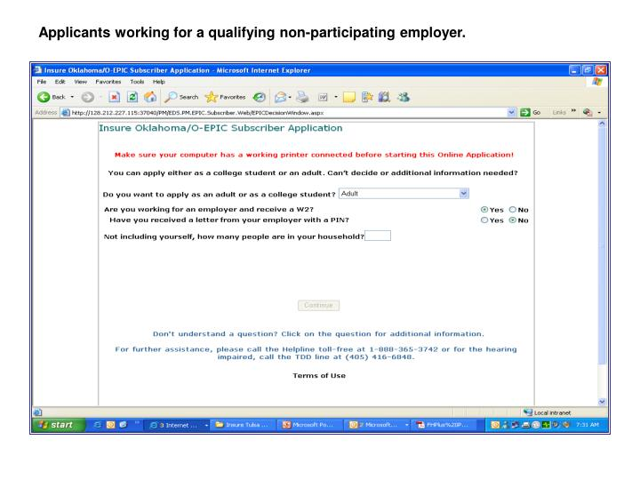 Applicants working for a qualifying non-participating employer.