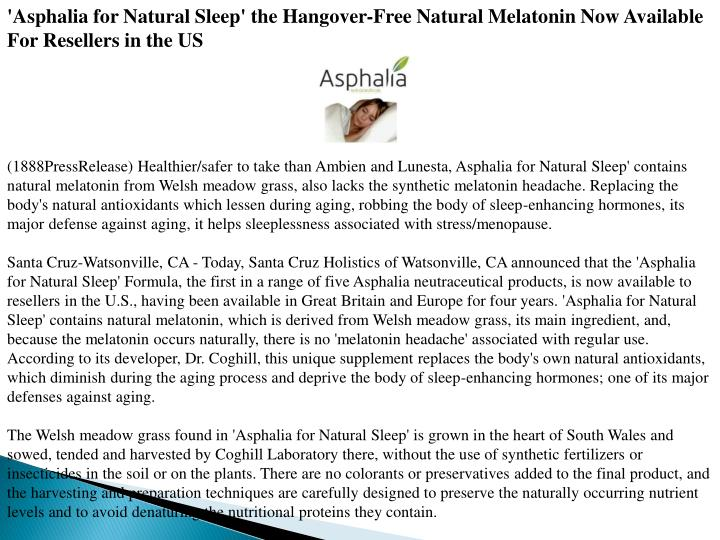 'Asphalia for Natural Sleep' the Hangover-Free Natural Melatonin Now Available For Resellers in the ...