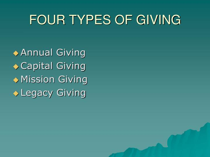 FOUR TYPES OF GIVING