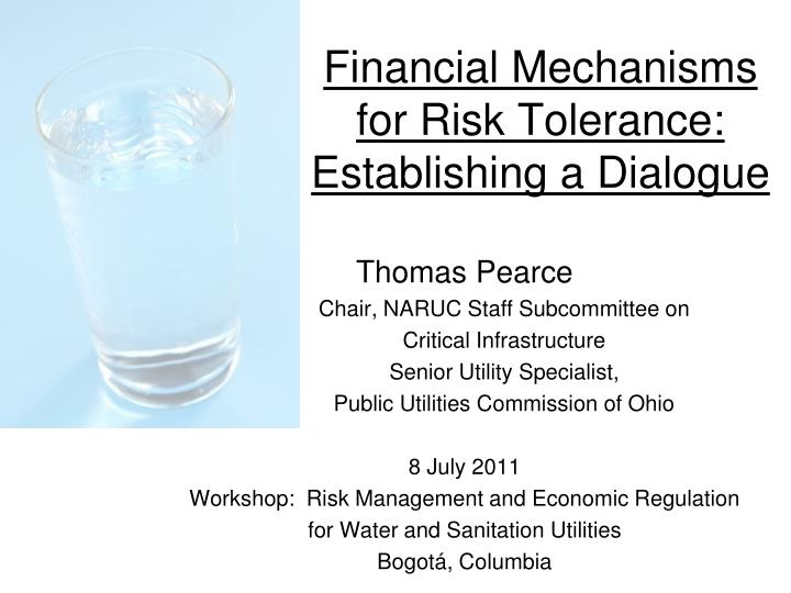financial mechanisms for risk tolerance establishing a dialogue n.
