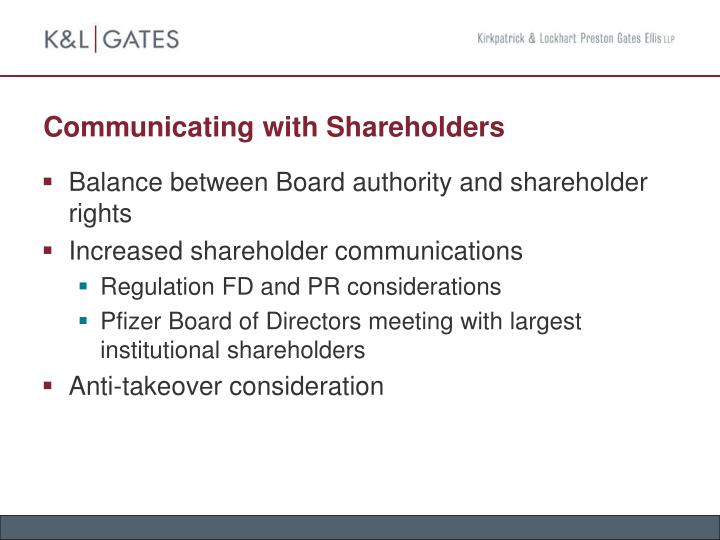 Communicating with Shareholders