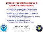 status of igs orbit modeling areas for improvement