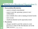 benefits of a microkernel organization 1