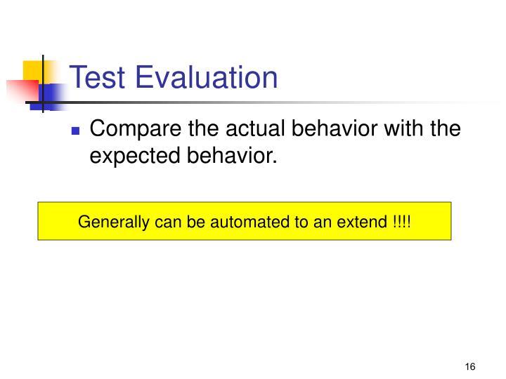 Test Evaluation