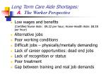 long term care aide shortages a the worker perspective