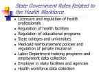 state government roles related to the health workforce