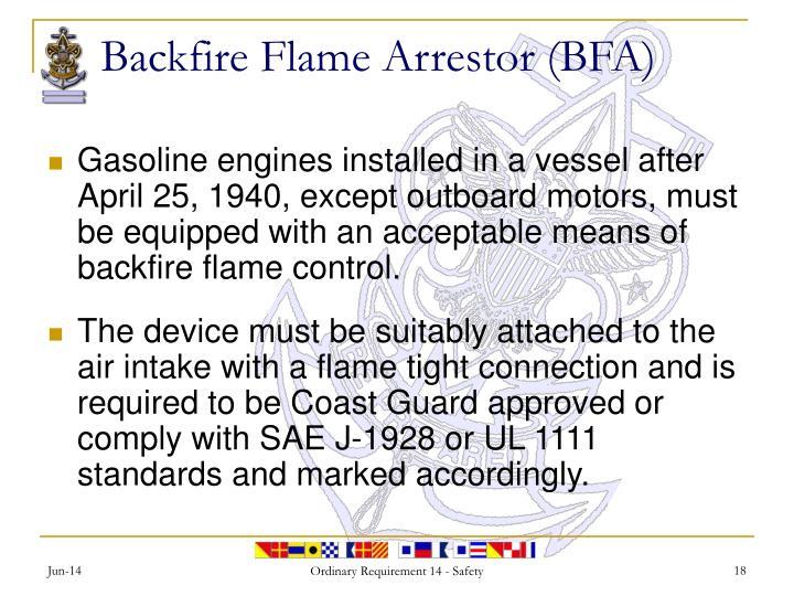 Backfire Flame Arrestor (BFA)