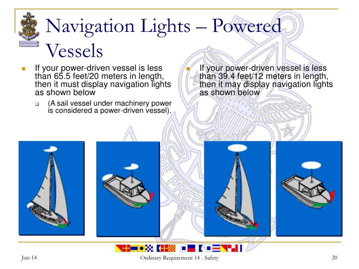 If your power-driven vessel is less than 65.5 feet/20 meters in length, then it must display navigation lights as shown below