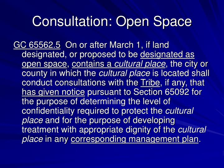 Consultation: Open Space