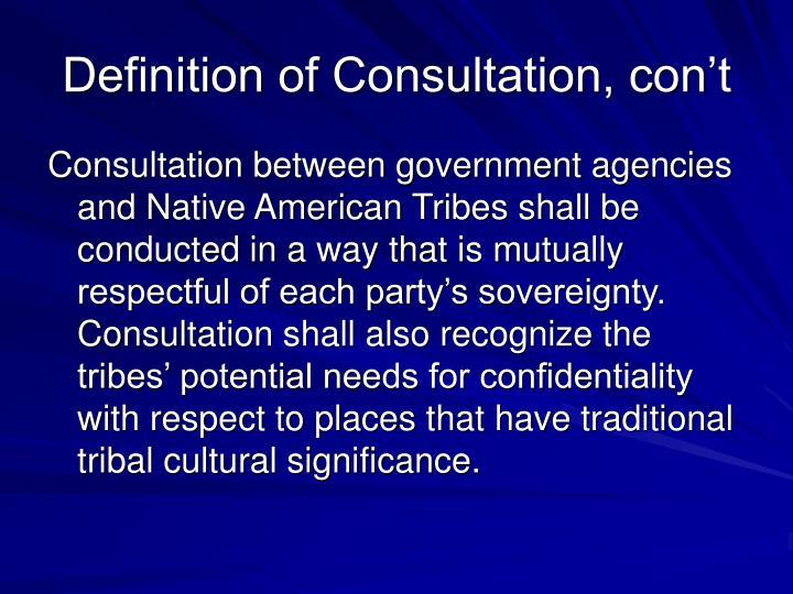 Definition of Consultation, con't