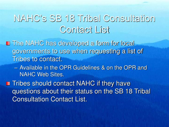 NAHC's SB 18 Tribal Consultation Contact List