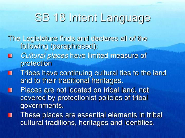 Sb 18 intent language