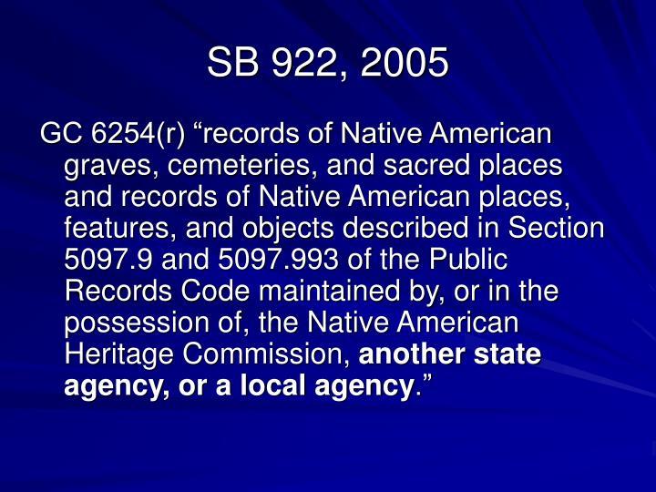 SB 922, 2005