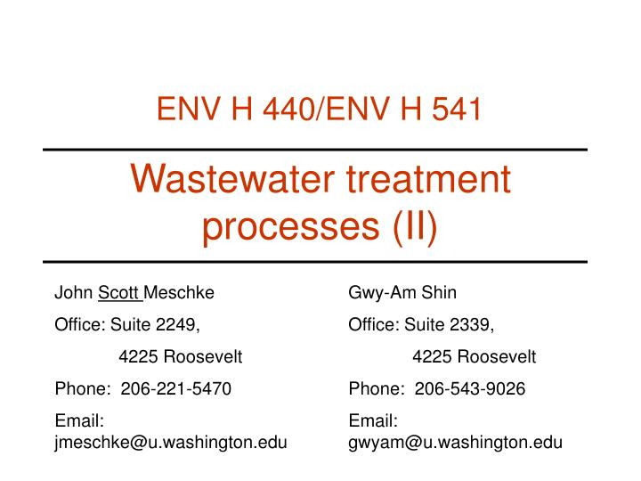 wastewater treatment processes ii n.