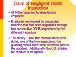 claim of negligent osha inspection