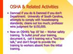 osha related activities