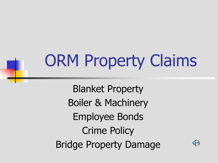 Orm property claims