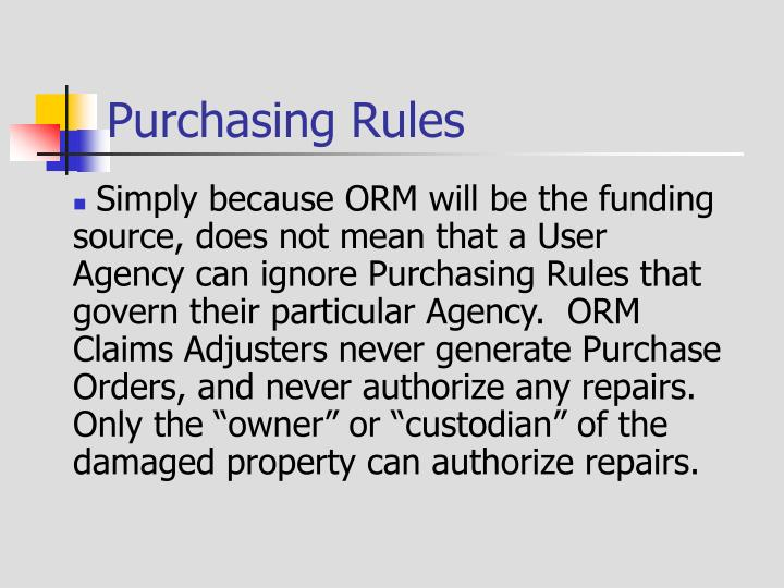 Purchasing Rules