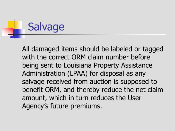 All damaged items should be labeled or tagged with the correct ORM claim number before being sent to Louisiana Property Assistance Administration (LPAA) for disposal as any salvage received from auction is supposed to benefit ORM, and thereby reduce the net claim amount, which in turn reduces the User Agency's future premiums.