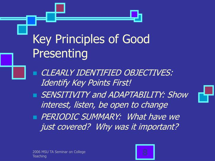 Key Principles of Good Presenting