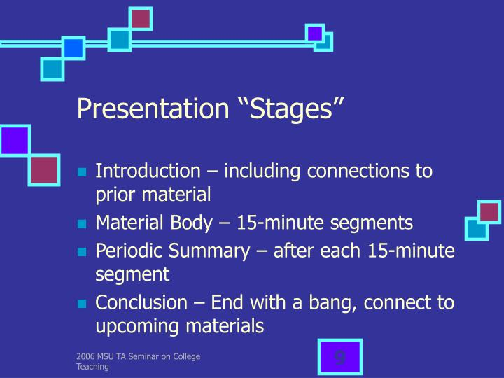"Presentation ""Stages"""